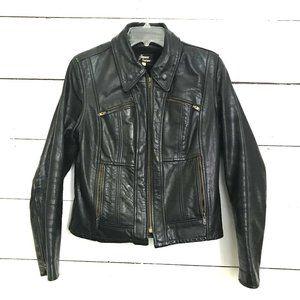True Vintage Leather Motorcycle Jacket Black 12 M